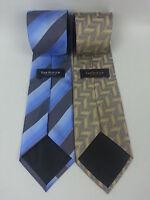 2 Van Heusen Men's Ties Blue Grey Gray Stripe Gold