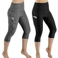 US Womens 3/4 Capri Yoga Pants Gym Fitness Sports Cropped Leggings With Pocket