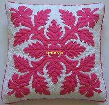 1 Hawaiian quilt handmade hand quilted/appliquéd cushion pillow cover FUCHSIA