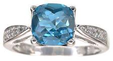 London Blue Topaz & White Beryl Gemstones Sterling Silver Ring Size 6