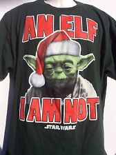 Star Wars Christmas Yoda Green T Shirt sz XL An Elf I Am Not Yoda Santa Hat