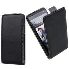 Genuine Slim Black Leather Flip  Mobile Phone Case Cover For HTC Model