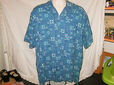 L. L. Bean Men Blue 100% Cotton Trim Fit Button Front Short Sleeve Shirt Size XL