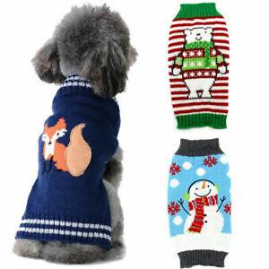 Xmas Warm Knit Jumper Dog Sweater Fall Winter Puppy Dog Cat Sweater Coat Apparel