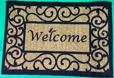 Welcome Doormat Home Door 20x30 Mat Beige & Black Outdoor Heavy Duty