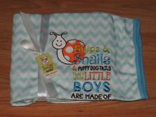 Baby Ganz Baby Blanket Snips And Snails Boys 36 X 30 Blue Chevron Stripe
