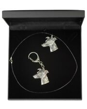 Whippet - silver plated keyring, necklace, set with black box, Art Dog AU