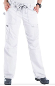 Koi Classics Lindsey Womens Large L White Cotton Blend Scrub Pants #701