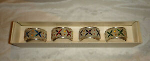 Pier 1 Imports Exclusive Silver Plated Jeweled Napkin Rings Set Of 4