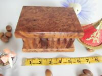 Moroccan thuya wood jewelry Puzzle box with secret Compartment & lock 5.5X4X3.5""