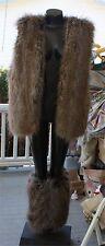 Donna Sayler's Fabulous Furs Faux Fur Coyote Long Vest S Med. M Tan Gray legging