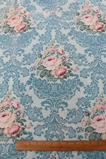 "Antique French c1918 Pink Roses & Lace Design On Printed Cotton Fabric~40""X32"""
