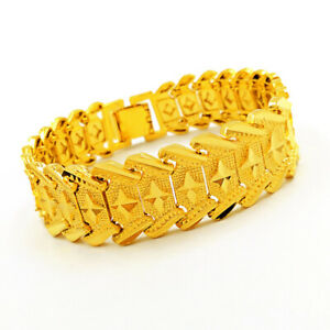"""Top Quality 15mm 8"""" 24K Yellow Gold Plated Car Flower Cool Men's Chains Bracelet"""
