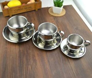 Double Layer Coffee 1Pc Cup Flower Tea Cups Espresso Fashion Stainless Steel
