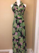 KAY UNGER Green Pink Floral Silk Chiffon Ruffle Halter Maxi Dress & Wrap 2