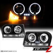 2005-2010 Chrysler 300 Black HALO ANGEL EYE Projector LED Headlight Lamp PAIR