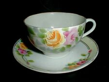 Takito Co T-T Japanese Eggshell Porcelain Pink Yellow Rose Cup Saucer-Japan (big