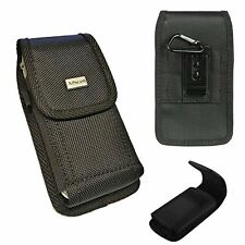 Rugged Black Nylon Pouch Canvas Case 2 Way Belt Loop Holster+Hook For
