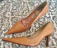 RRP £90 Kurt Geiger London KG Tan Leather Court Point Heel Shoes  Uk 5 Eu 38
