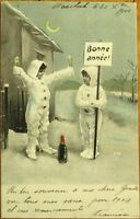 Children Drinking Champagne, Moon - 1903 French New Year Postcard
