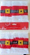 Christmas 4 Santa Claus Belt Buckle Napkin Holders/Rings Xmas Party Table Decor