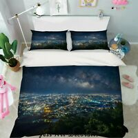 3D City Night Scene Quilt Cover Duvet Cover Comforter Cover Single/Queen 23