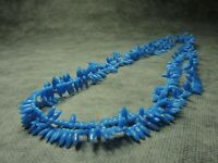 Vintage Czech Bohemian Imitation Coral  Blue Glass Beads Necklace LONG