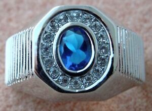 2.5 carat oval Blue Sapphire simulated mens ring Platinum overlay size 13 S1