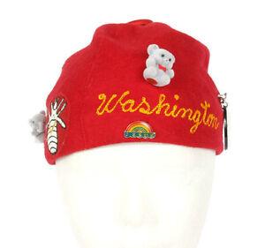 Vintage WASHINGTON State Red Round Fez Childerens Souvenir  Hat Display Piece