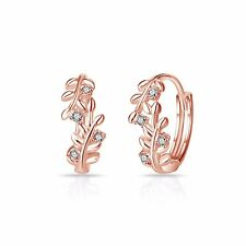 Rose Gold Leaf Hoop Earrings with Crystals from Swarovski®