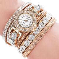 Moda Donna Acciaio Inox Diamante Sintetico Lussuoso Bracciale Orologio da Polso
