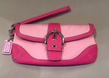 Coach Wristlet Two Tone Pink Satin Leather Signature Buckle Flap Clutch