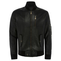 Men Genuine Leather Black Bomber Jacket -Mens Real Lambskin Varsity/Letterman