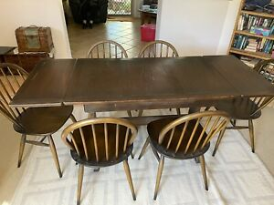 Vintage -1950's - 70s Ercol extendable dining table and Windsor Chairs