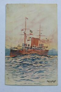 Postcard Artist Seppings Wright Signed Ship at Sea The Commodore Posted 1910