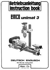 EMCO UNIMAT 3 LATHE MANUAL - 64 PAGES IN PDF FORMAT, PLUS 39 PAGE PARTS MANUAL