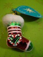 Valentine Christopher Radko Cozy Tozy Asst  Green heart Glass Ornament