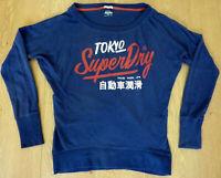Superdry Ladies Boat Neck Long Sleeve V Shape Shirt Top Size Japan XSmall