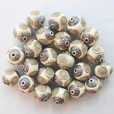 20Pcs Beautiful White Rare Earth & Tibet silver Spacer Beads N6665