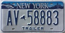 GENUINE New York Empire State USA Trailer License Licence Number Plate AX 14309