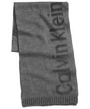 $134 CALVIN KLEIN Mens GRAY BLACK LOGO KNIT LONG WINTER MUFFLER SCARF SHAWL