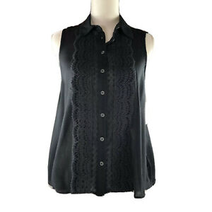 Free People Womens Top Sleeveless Black Button Down A-line Lace Size SP NEW