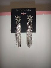 ISABELLA MIA Women's Silver Tone Crystals Pave Knot Earrings 3.2 inches Long NEW
