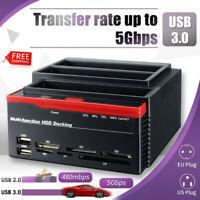"2.5/3.5"" HDD Docking Station IDE SATA 2 USB 3.0 Clone Hard Drive Card Reader OTC"