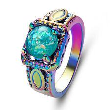 New Fire Green Opal 18KT Rainbow Gold Filled Women Wedding Jewelry Ring Size 9