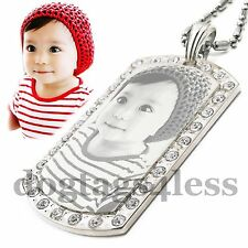 Custom Photo & Text Bling Bling Cubic Dogtag Pendant Necklace + Free Engraving