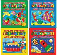 MOSAIC STICKER PICTURE BOOKS CREATE & COLOUR CHILDRENS ACTIVITY PARTY BAG FILLER