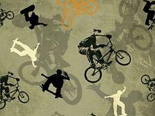 Extreme Xtreme Sports Sage Allover Bike Biker Skate Cotton Fabric Print D668.20
