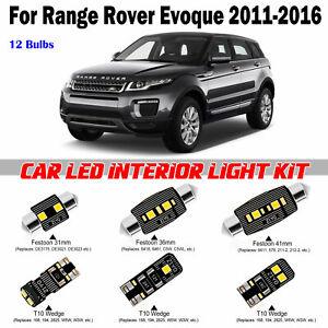 12pcs White LED Interior Light Kit For Land Rover Range Rover Evoque 2011-2016