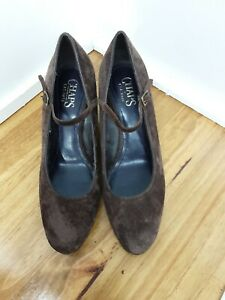 """CHAPS """"Adele"""" Size 8.5B Brown Genuine Leather Suede Wedges Shoes Buckle Straps"""